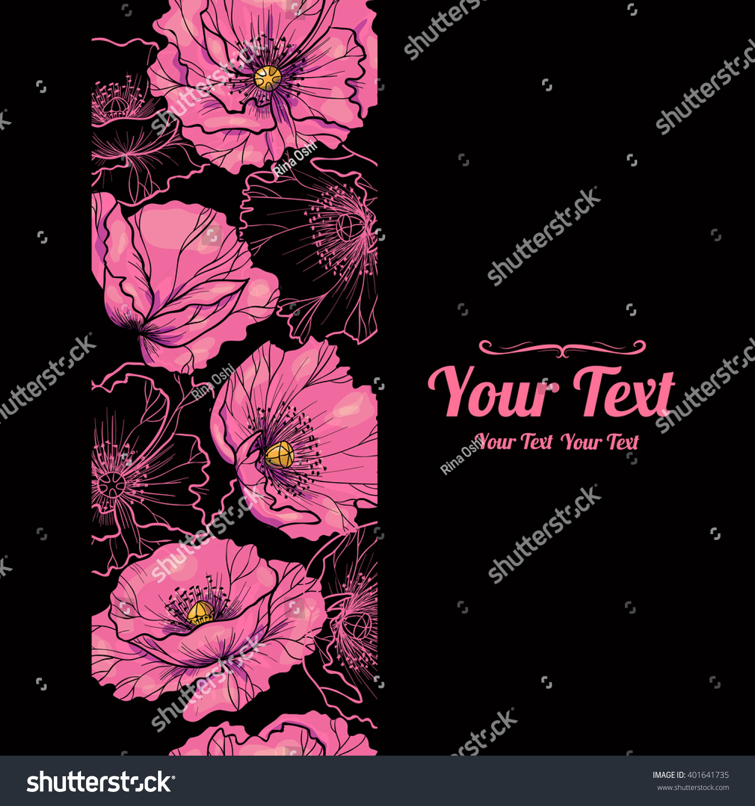 Vector Beautiful Pink Poppies Flowers Vertical Stock Vector Royalty