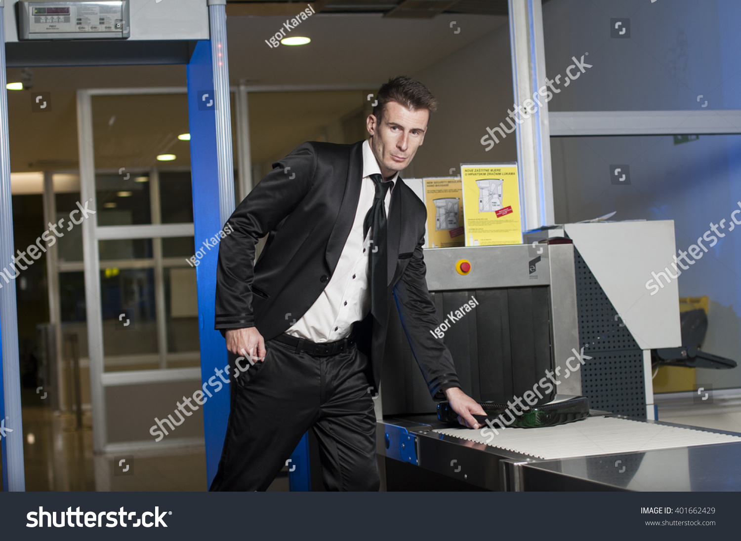 Jew Detector: Person Airport Security Gates Metal Detectors Stock Photo
