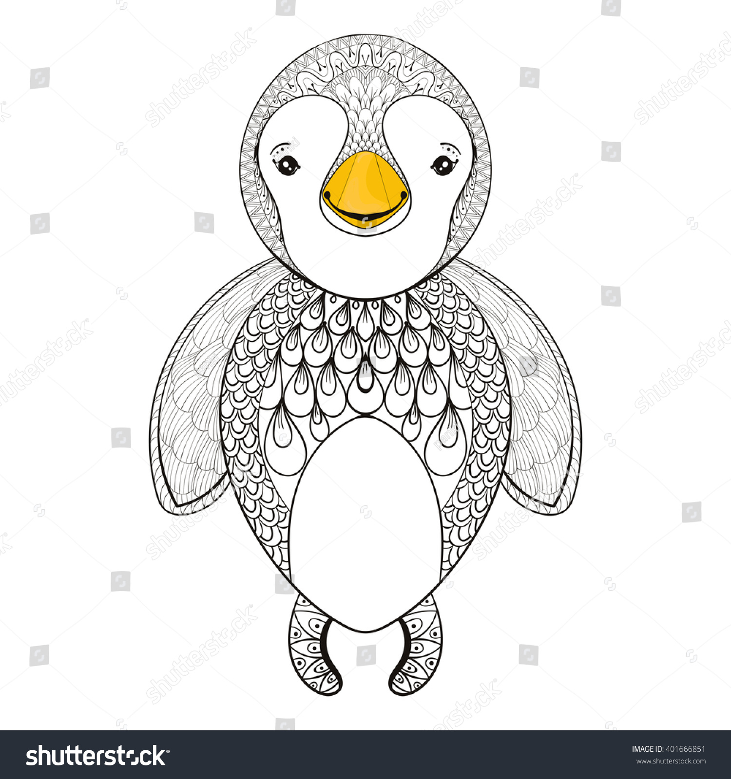 vector penguin coloring page hand stock vector 401666851