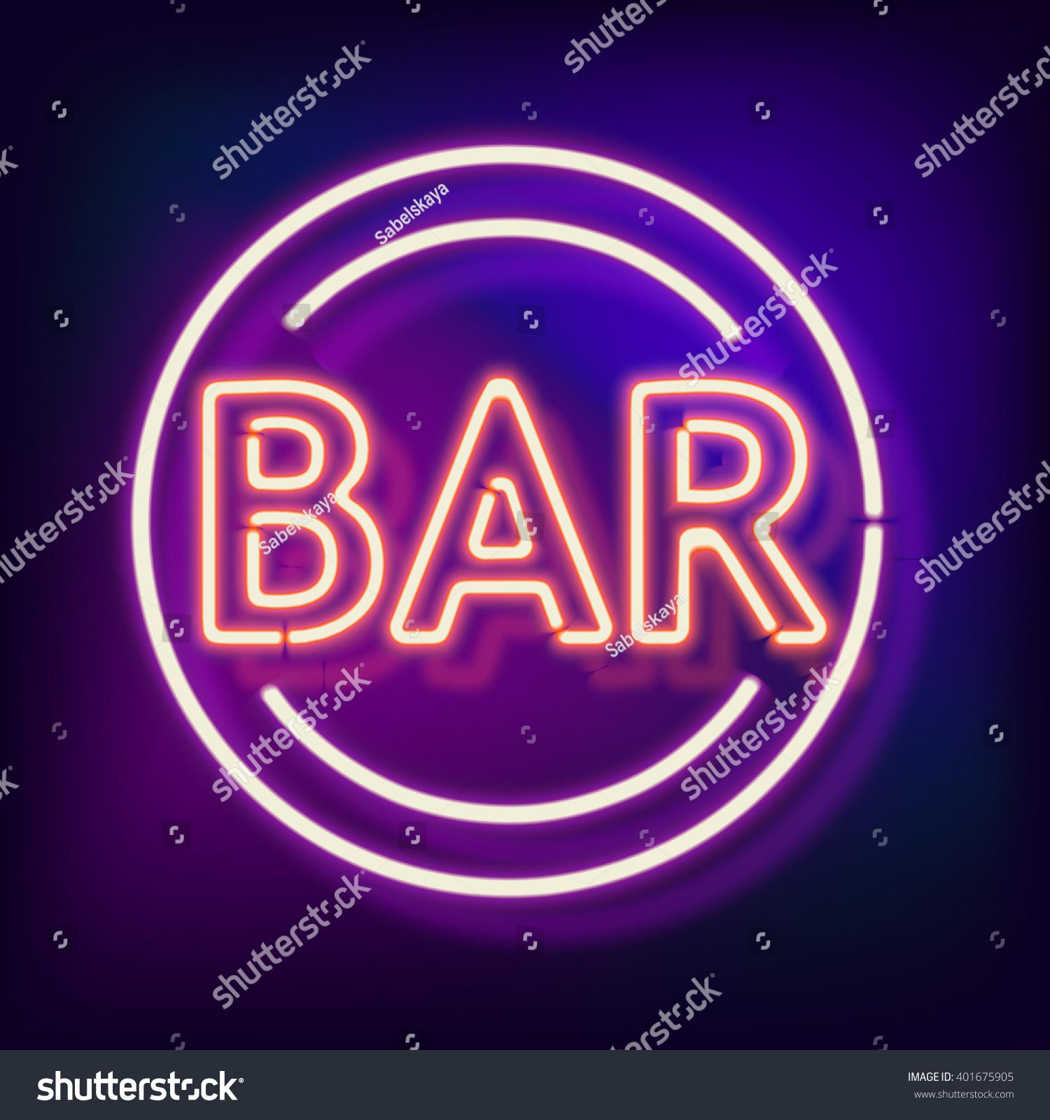retro neon sign word bar vintage stock illustration 401675905