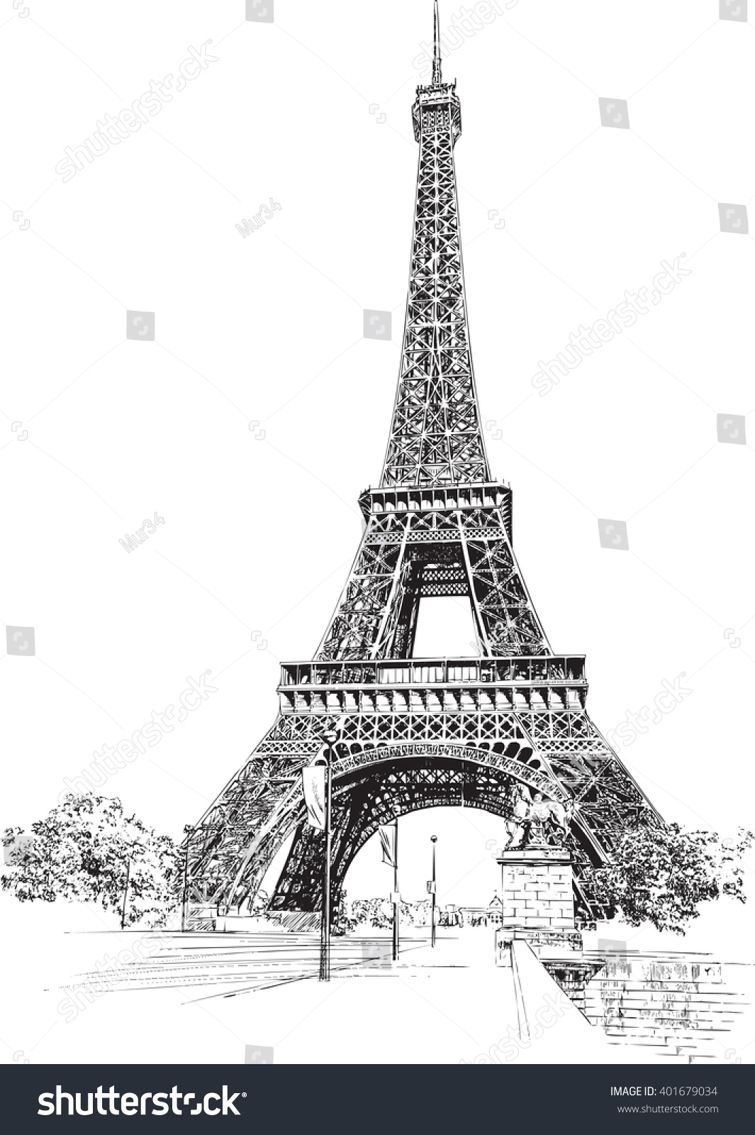 Eiffel Tower Paris France Hand Drawing Stock Vector ...