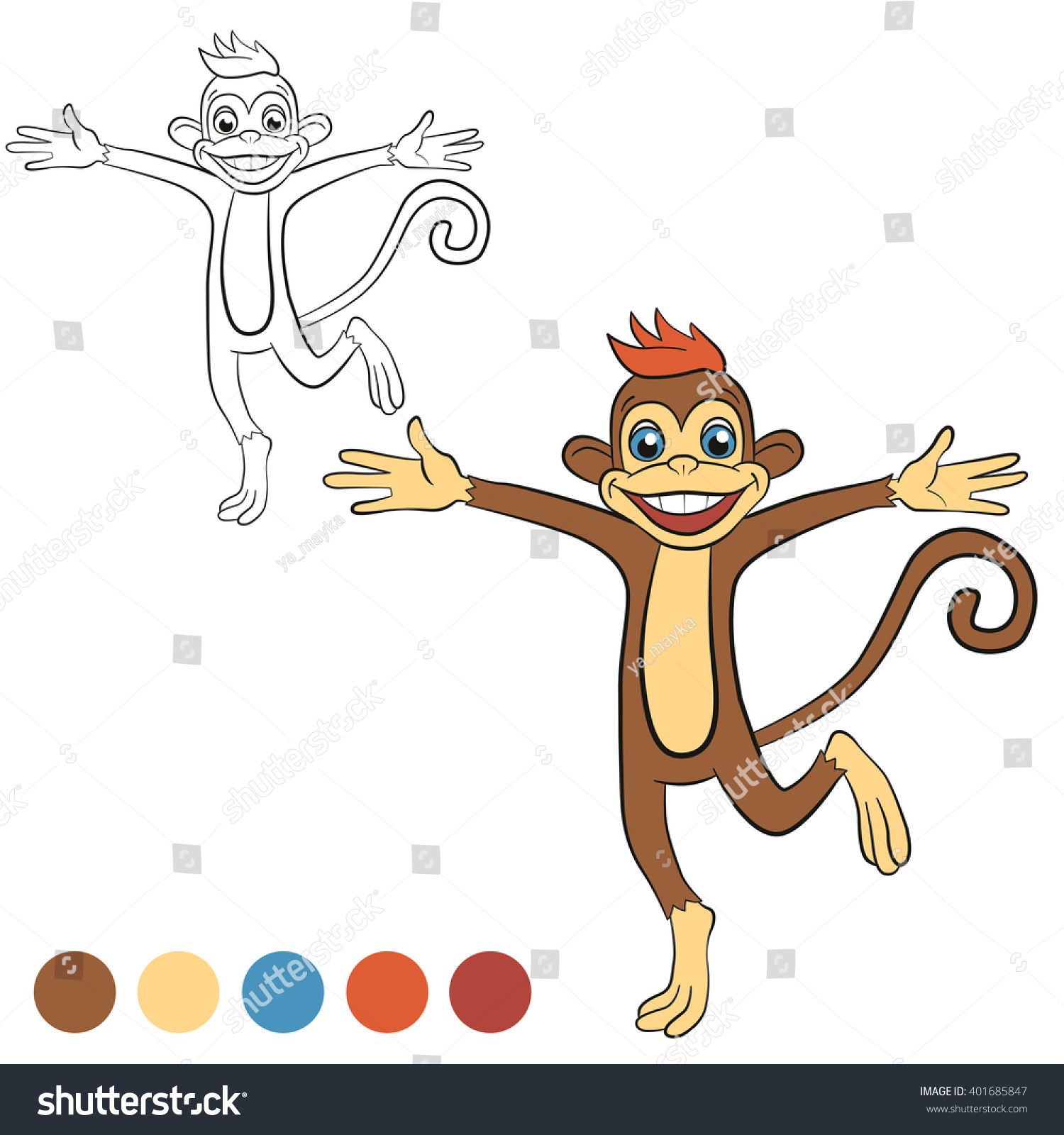coloring page color me monkey little stock vector 401685847