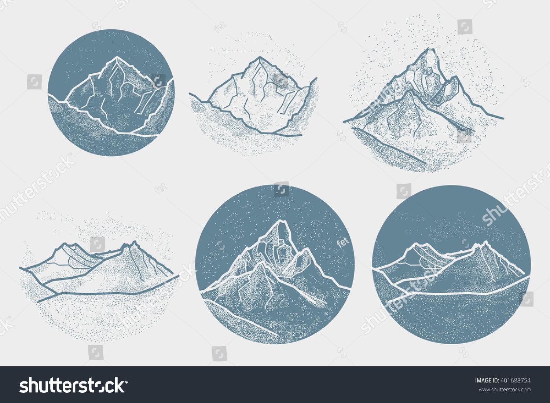 Vector Mountains Tattoo Blackwork dot work hipster geometry