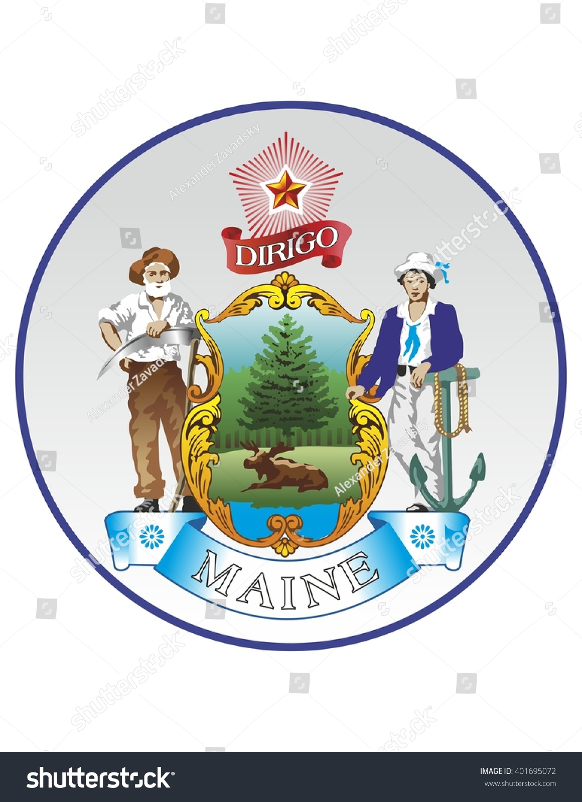 Vector State Seal Maine Stock Vector Royalty Free 401695072