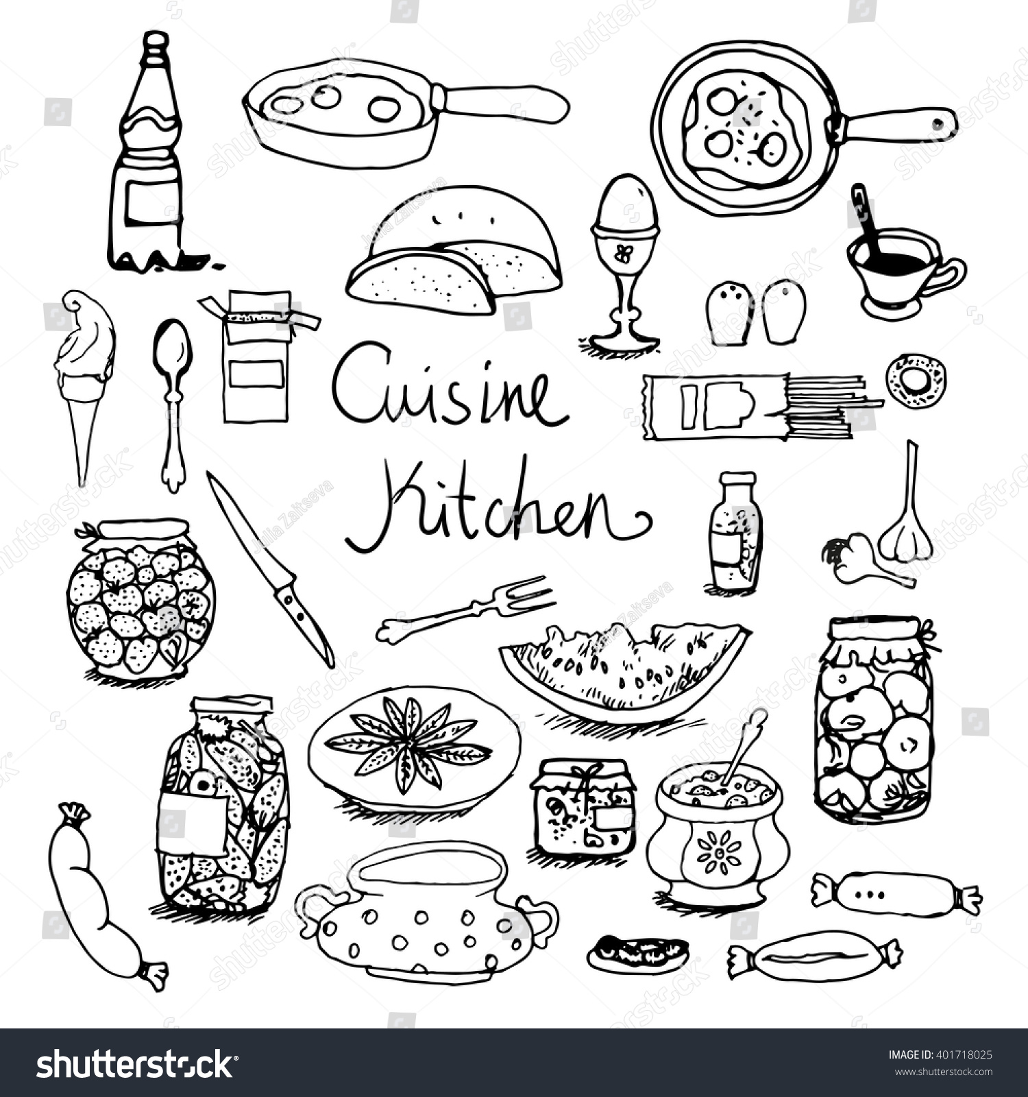 Kitchen set handdrawn line sketches food stock vector for Kitchen set vector