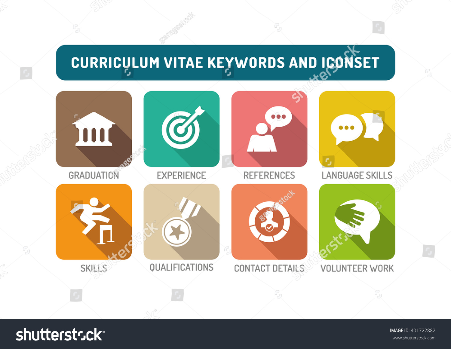 Curriculum Vitae Flat Icon Set Stock Vector Royalty Free 401722882