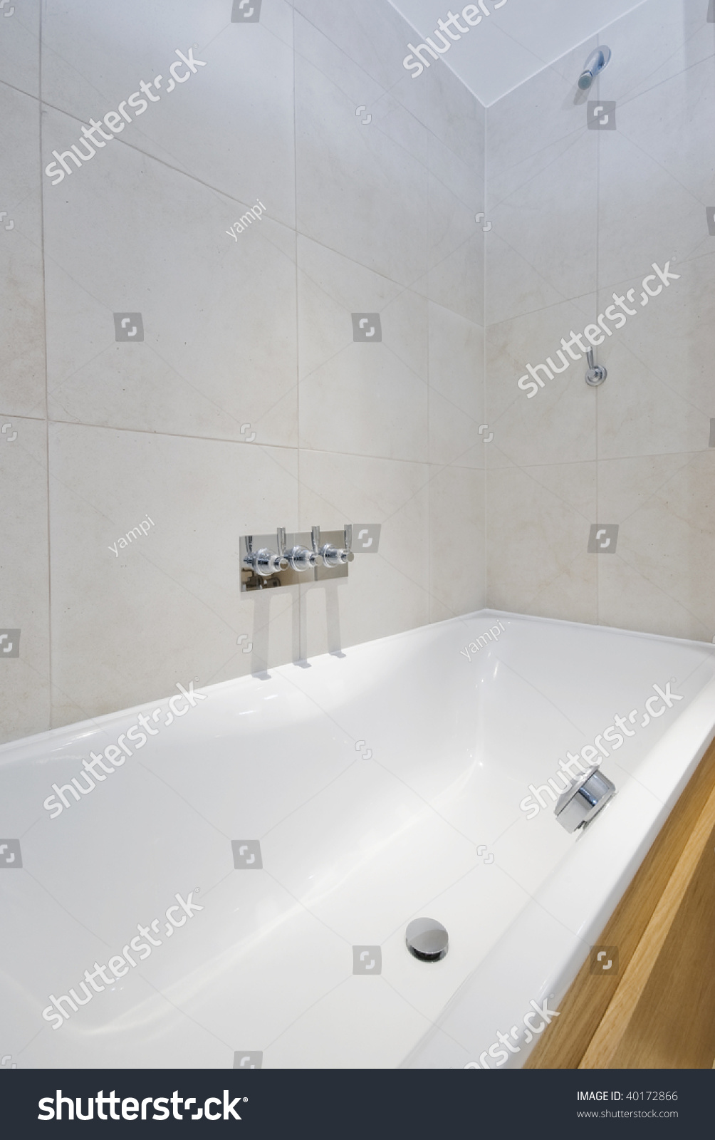 Contemporary Bath Tub Shower Attachment Wall Stock Photo (Safe to ...