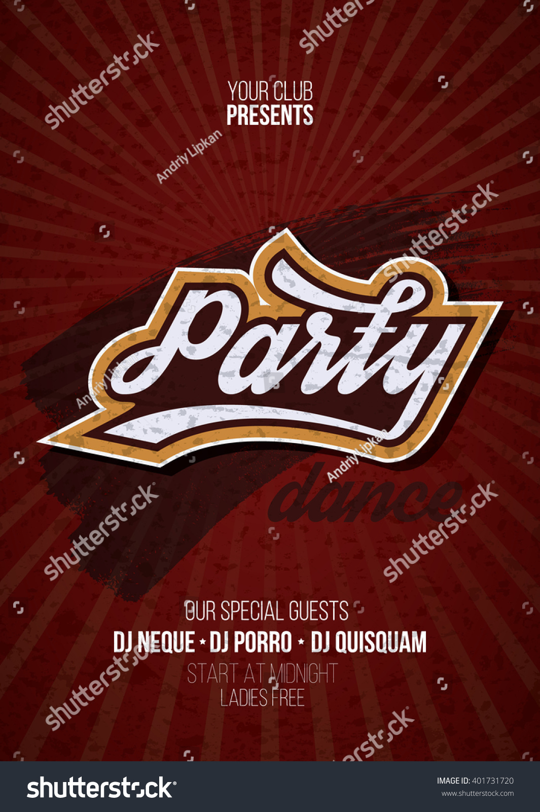 Retro Party Invitation Design Template Vintage Vector De Stock