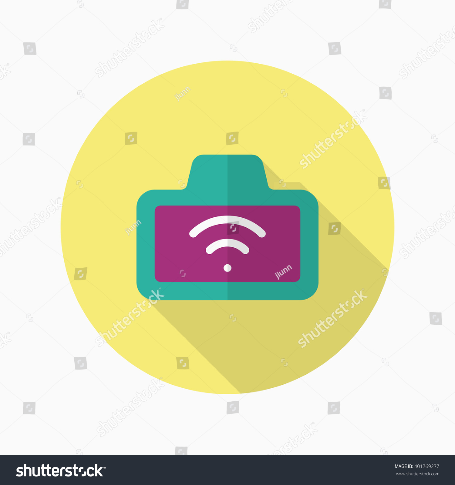 Wireless Camera Icon Vector Flat Long Stock Royalty Free Diagram Shadow Design