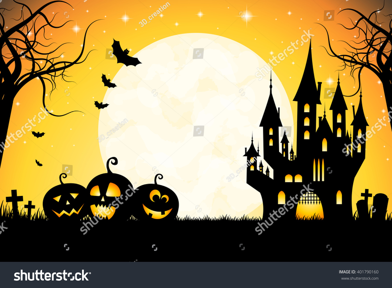 Halloween Party Card Template - Spooky Castle, Full Moon, Pumpkins ...