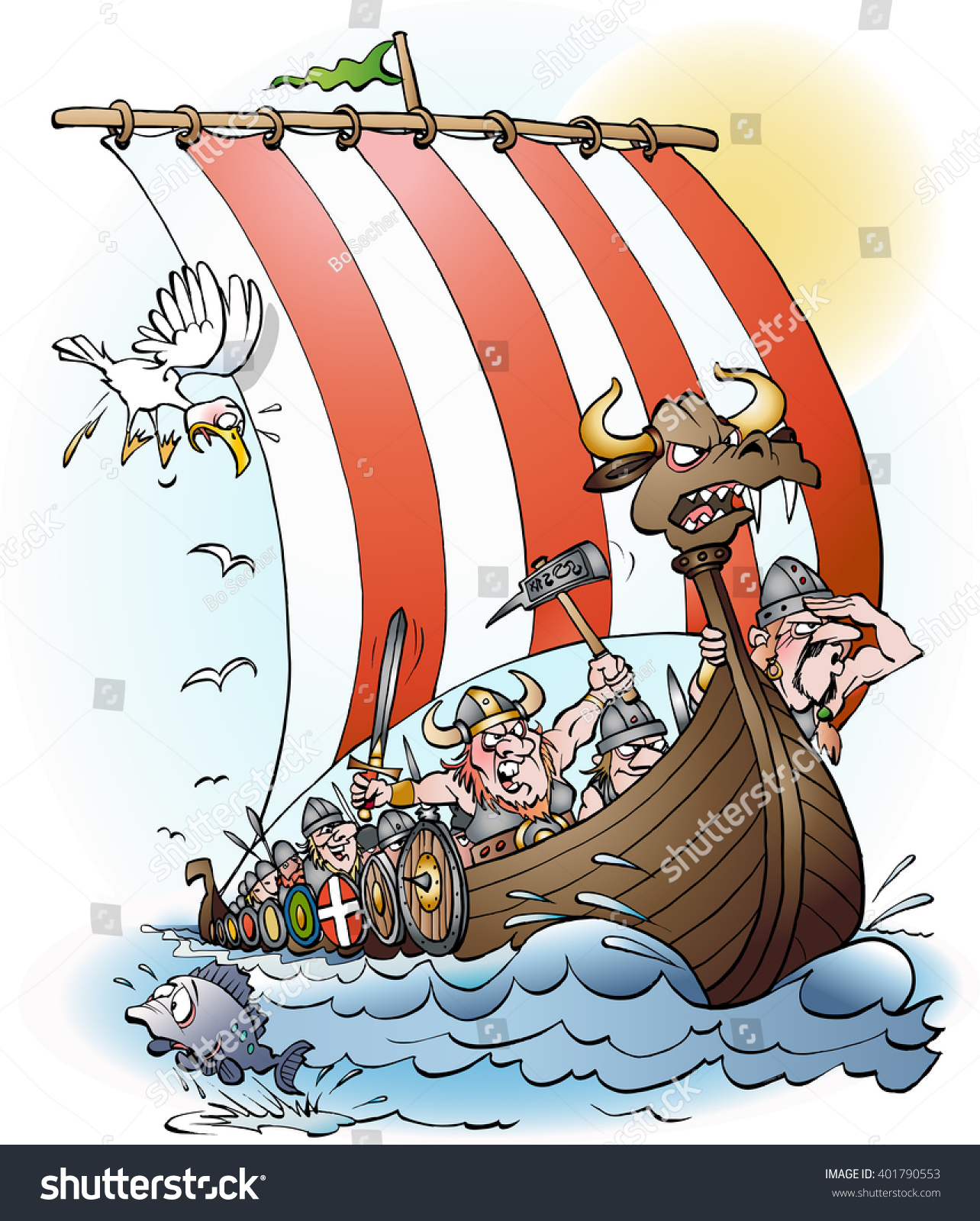 vikings raid cartoon illustration vector drawing stock vector