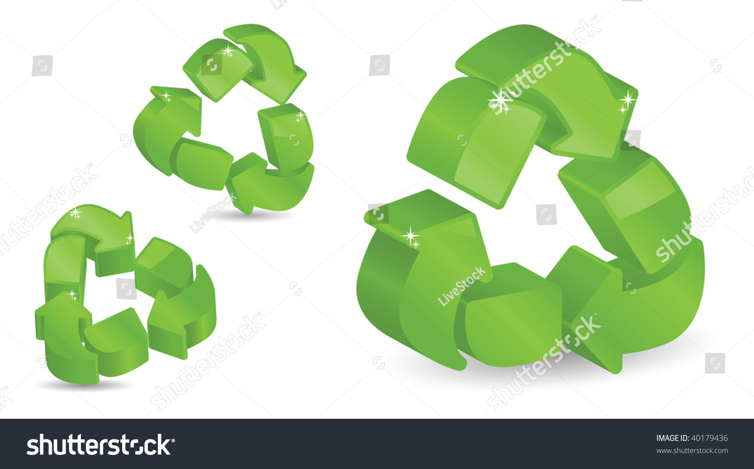 Glossy sparkling recycling symbols 3d stock vector 40179436 glossy sparkling recycling symbols in 3d biocorpaavc Images