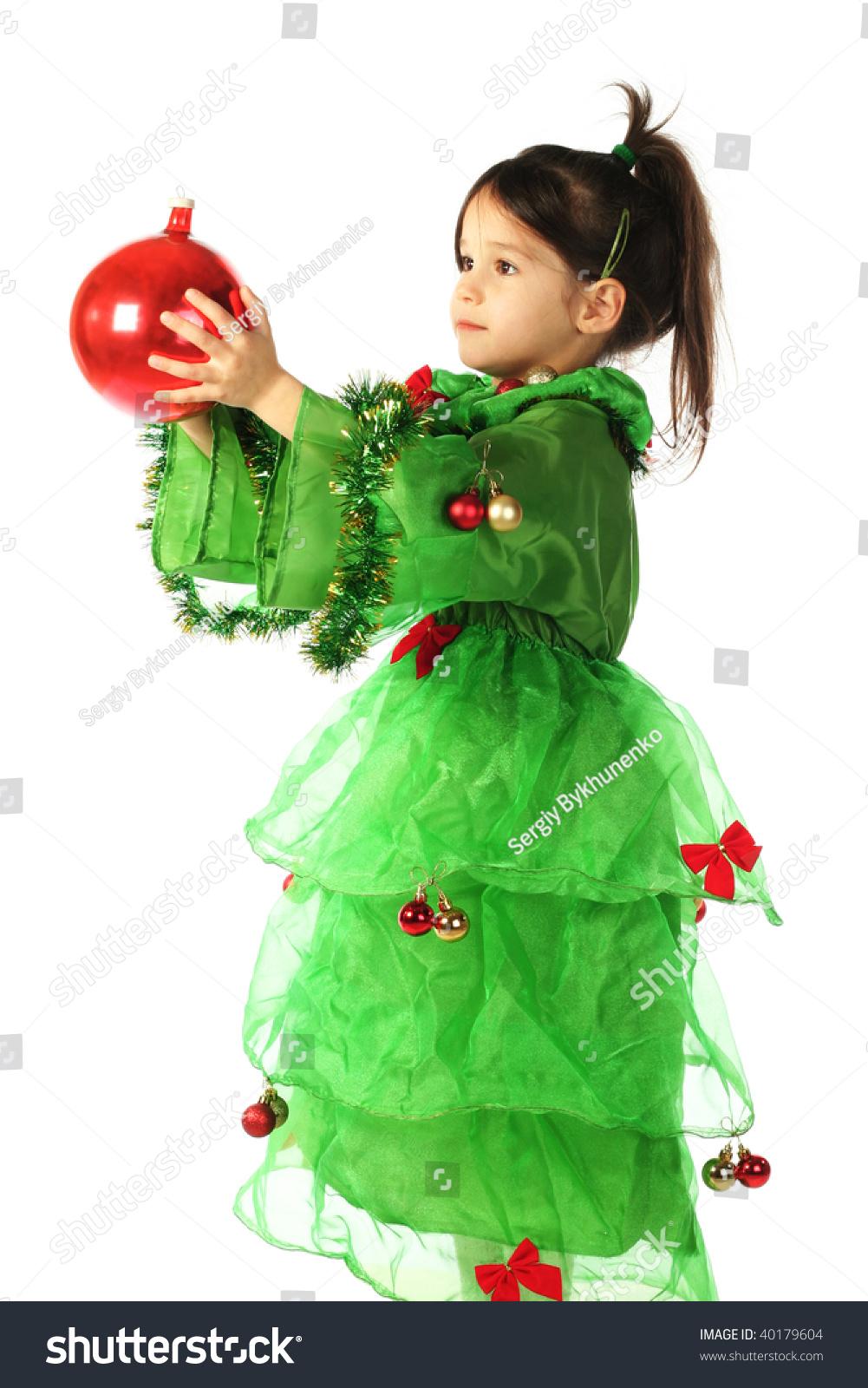 Toddler Christmas Tree Costume.Little Smiling Girl Green Christmas Tree Stock Photo Edit