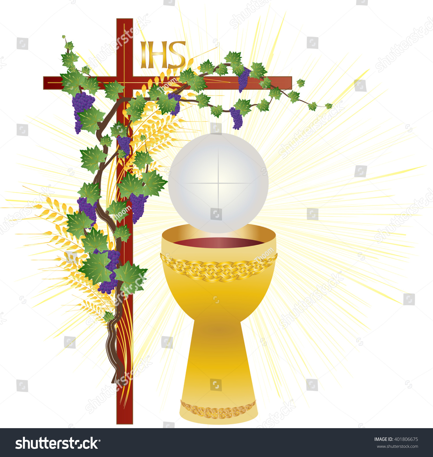 Eucharist symbols bread wine chalice host stock vector 401806675 eucharist symbols of bread and wine chalice and host with wheat ears and vine buycottarizona Image collections