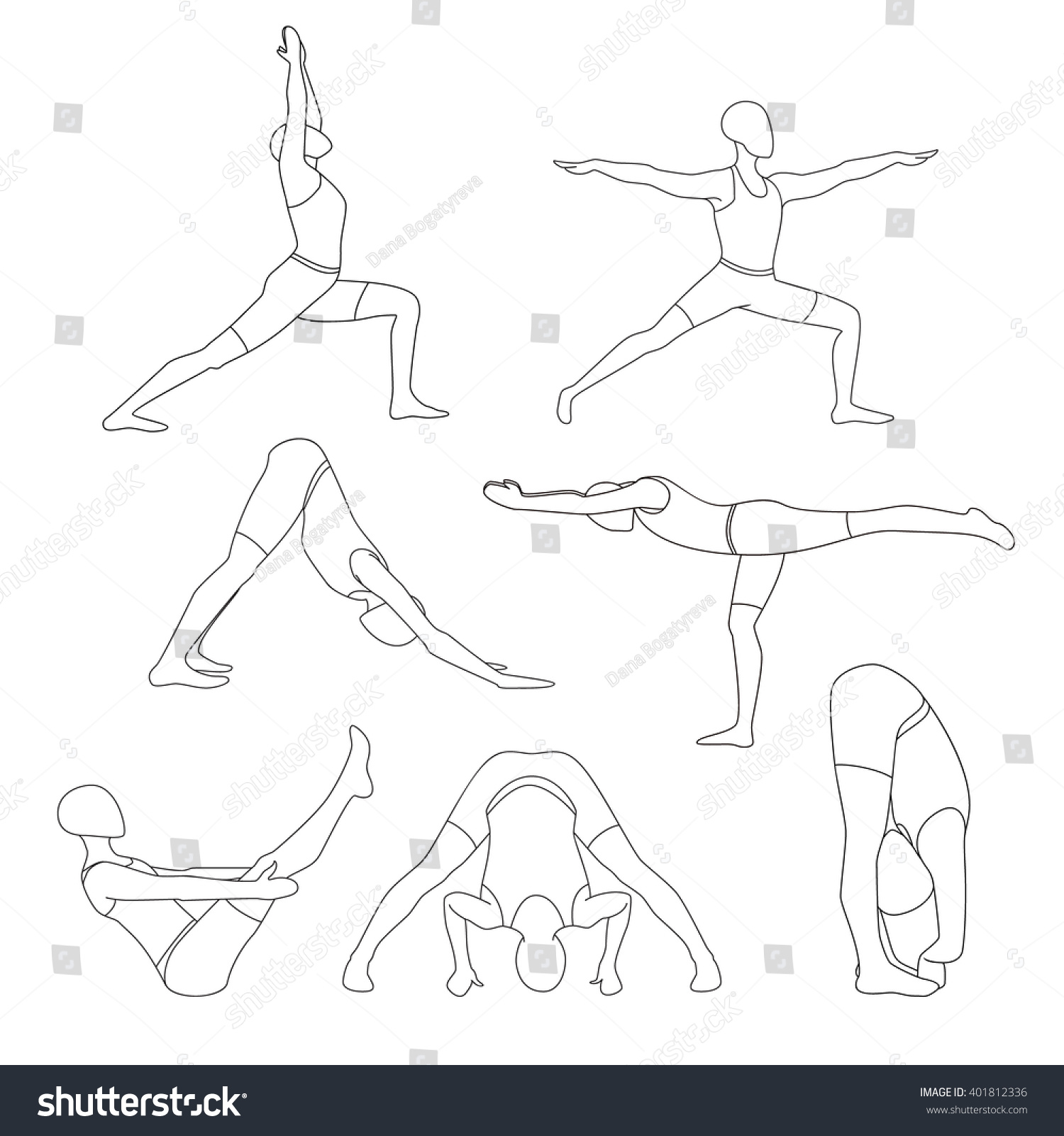 Line Drawing Yoga Pose : Set of seven yoga poses human doing line art