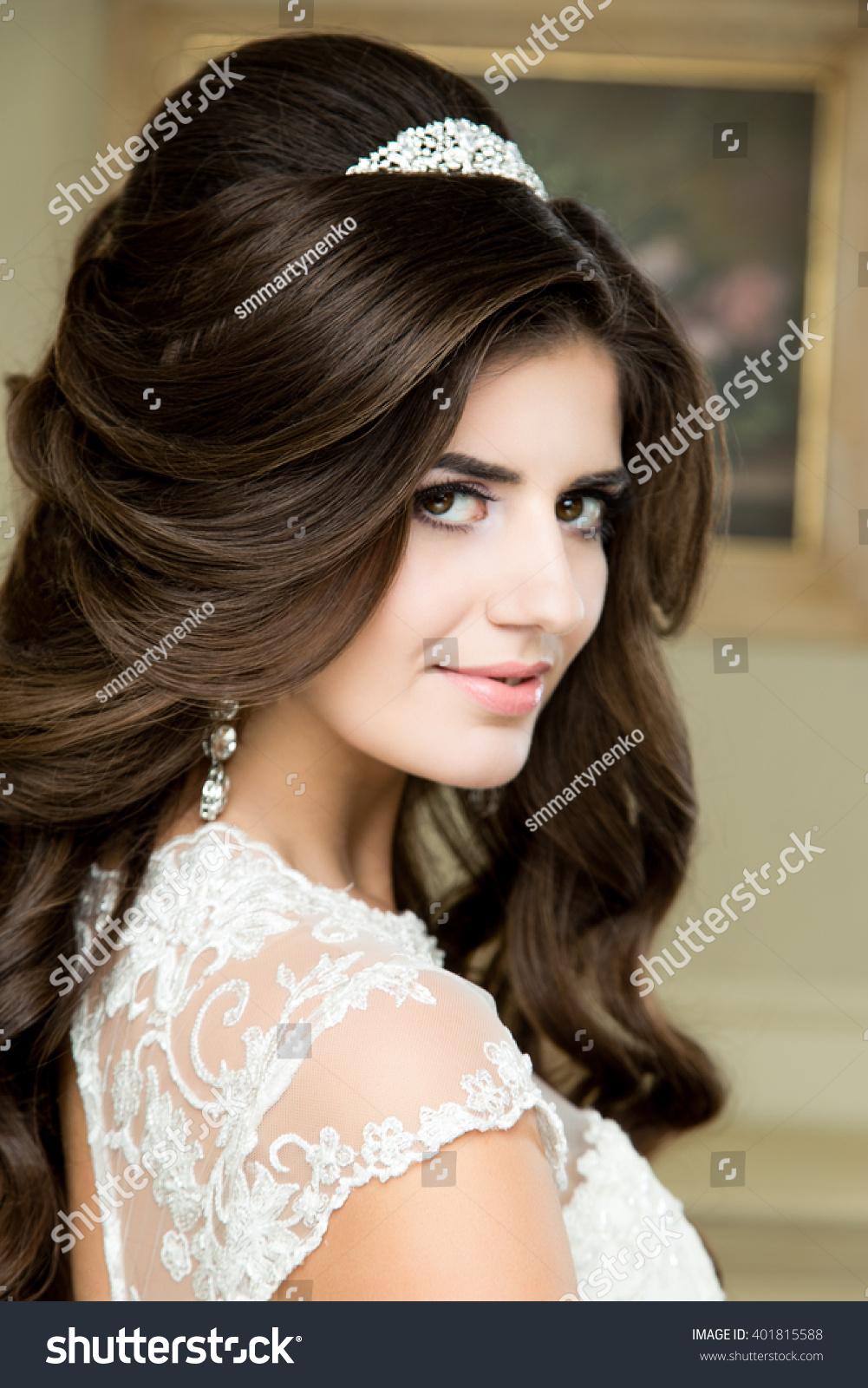 beautiful brunette bride portrait wedding makeup stock photo