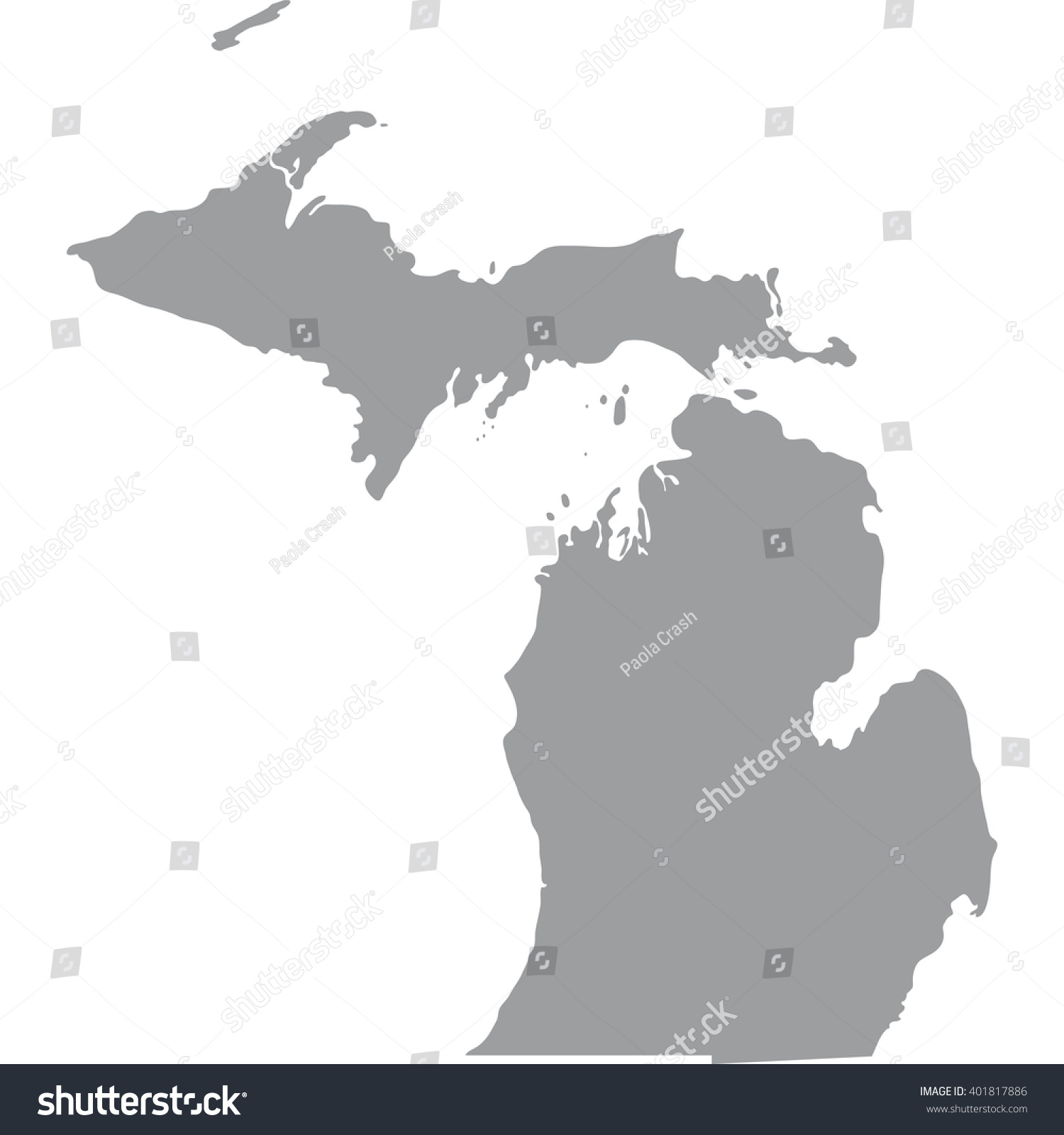 Map Us State Michigan Stock Vector Shutterstock - Michigan on a us map