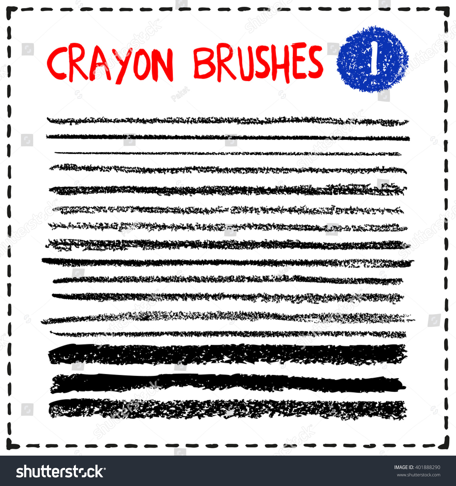 set crayon brushes grunge lines texture stock vector royalty free