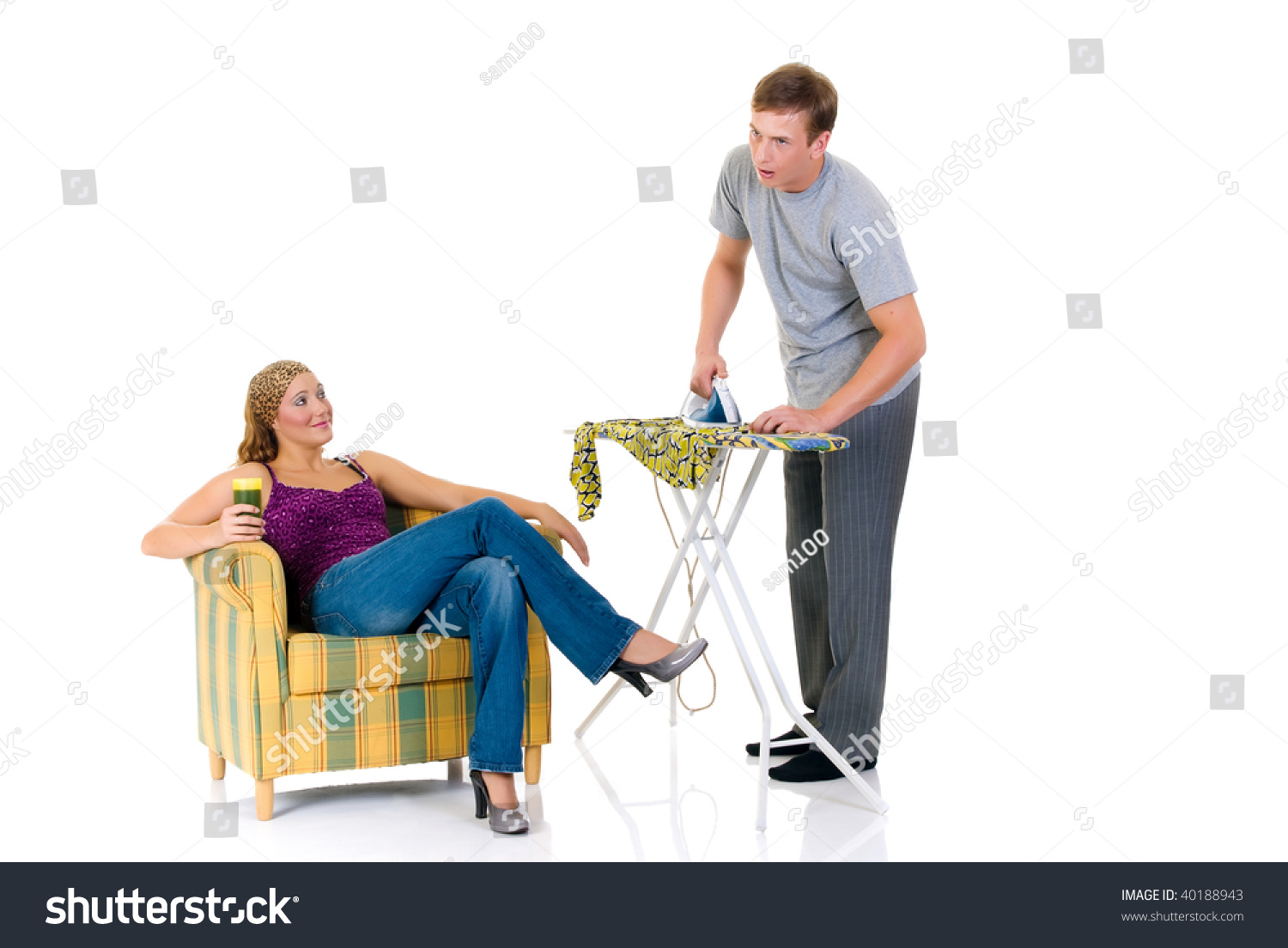 3ce826ceeb Young Bossy Woman Sofa Man Ironing Stock Photo (Edit Now) 40188943 ...