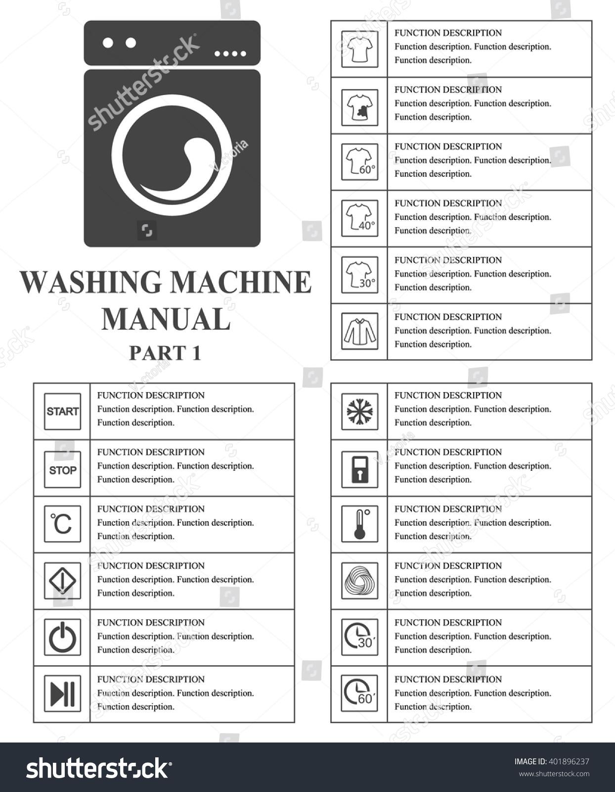Oven manual symbols part 1 instructions stock vector 401896237 oven manual symbols part 1 instructions signs and symbols for washing machine exploitation manual buycottarizona Images