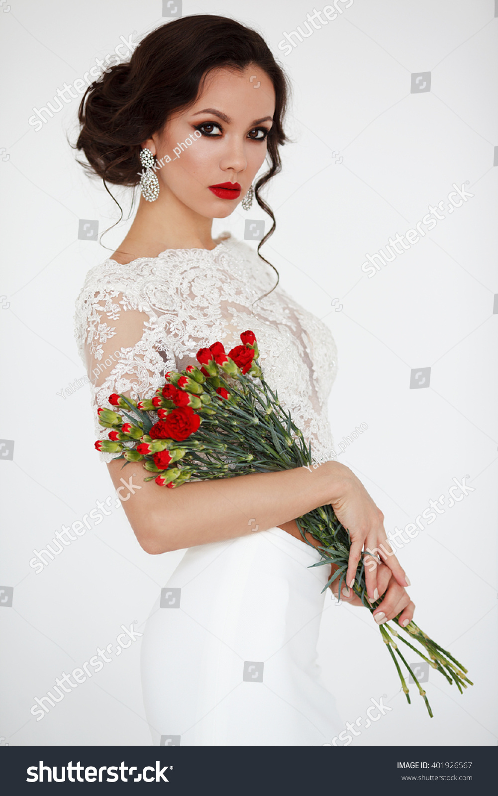 Beautiful Happy Bride White Dress Red Stock Photo Royalty Free