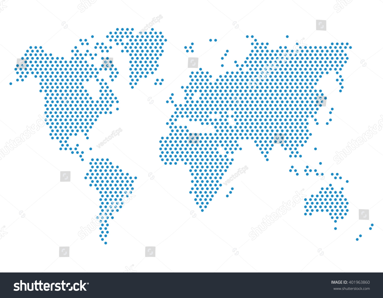 Dotted World Map. Template With Blue Points Isolated On ...