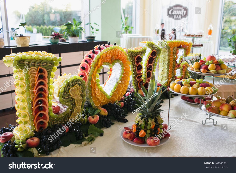 Luxury Fruit Decoration On Wedding Dessert Table In Restaurant #401972911