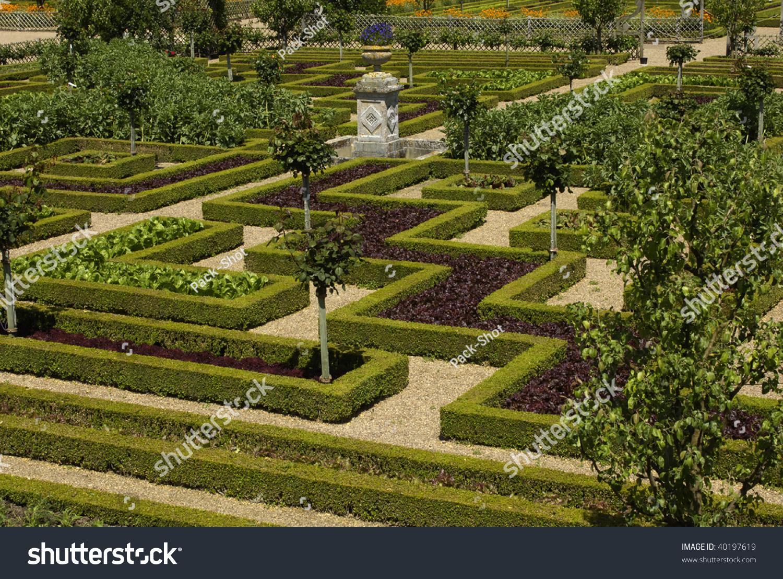 France Castle Villandry French Formal Garden Stock Photo ...