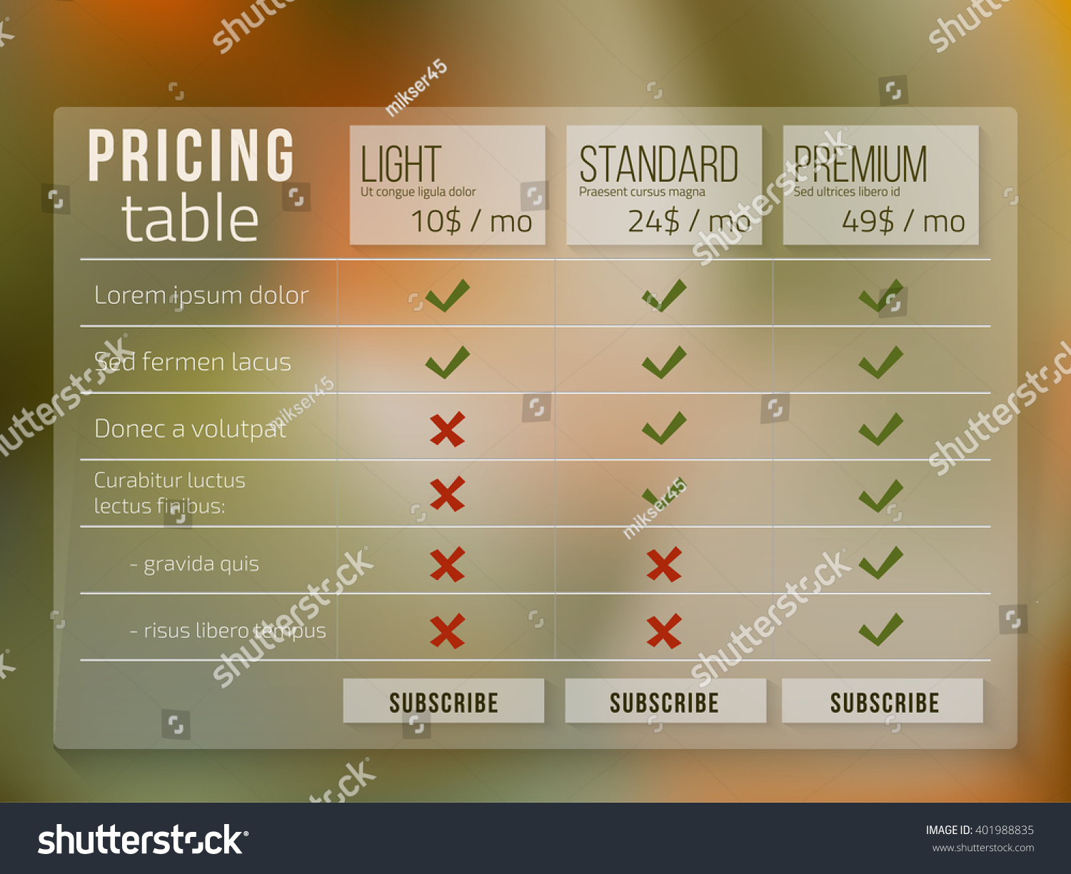Web Pricing Table Design Business On Stock Vector 401988835 ...