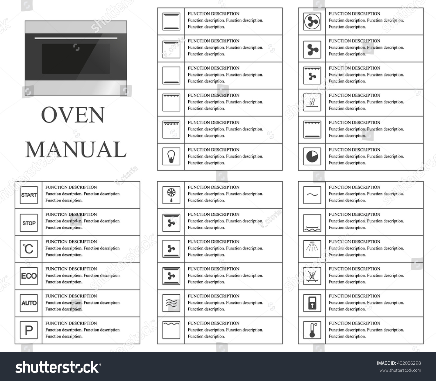 oven manual symbols instructions signs symbols stock. Black Bedroom Furniture Sets. Home Design Ideas