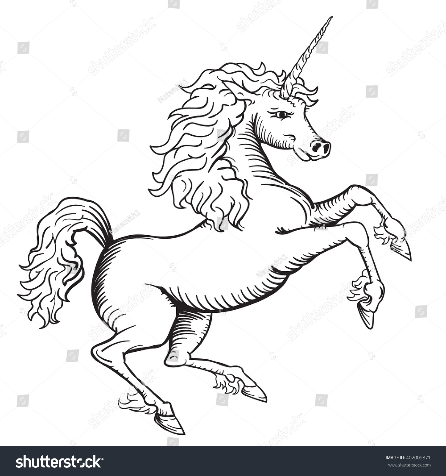 Uncategorized Drawing Of Unicorn black white vector drawing unicorn line stock 402009871 of a easy to edit layers