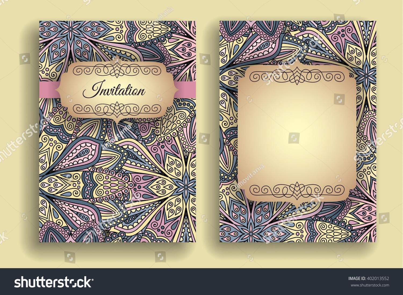 Vintage Invitation Template Boho Flower Pattern Stock Vector ...