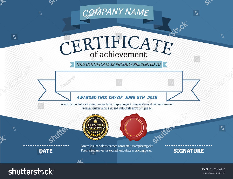 blue ribbon certificate template vector illustration stock vector