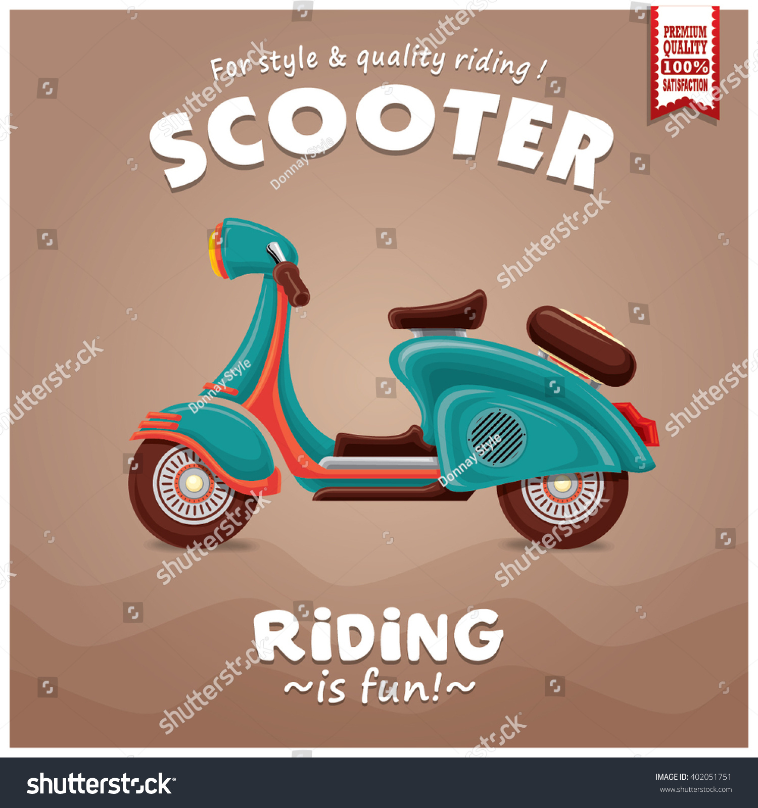 Vintage Scooter Poster Design Stock Vector Royalty Free 402051751