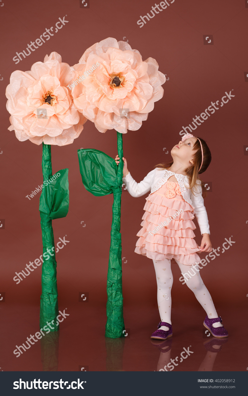 Girl Holding Huge Flower Looking Him Pretty Stock Photo Edit Now