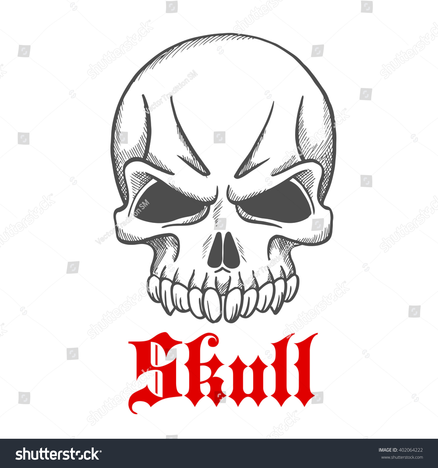 Vintage angry gothic skull without jawbone stock vector 402064222 vintage angry gothic skull without jawbone engraving sketch tattoo t shirt print or biocorpaavc Image collections