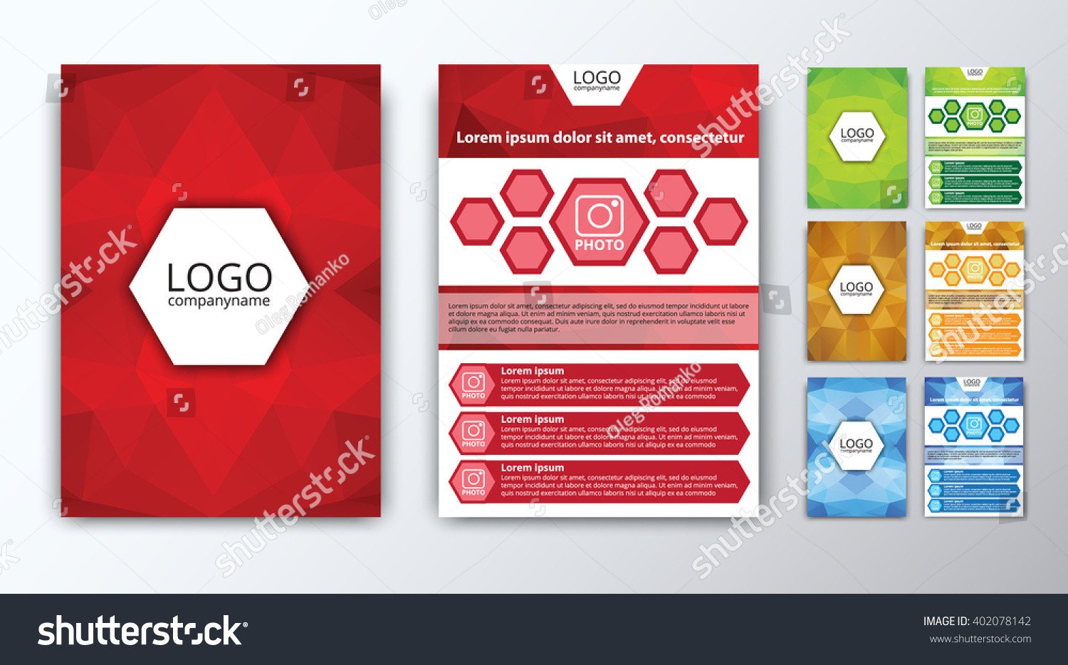 design polygon color brochures flyers covers space for a save to a lightbox