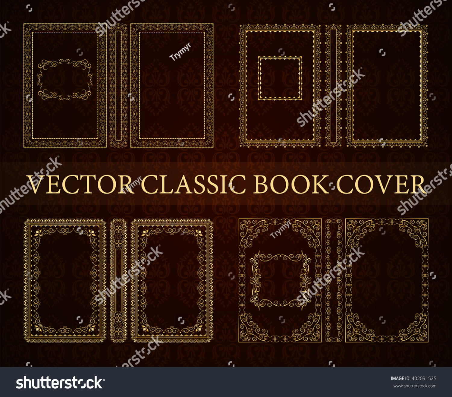 Old Book Cover Vector : Vector set classical book cover decorative stock