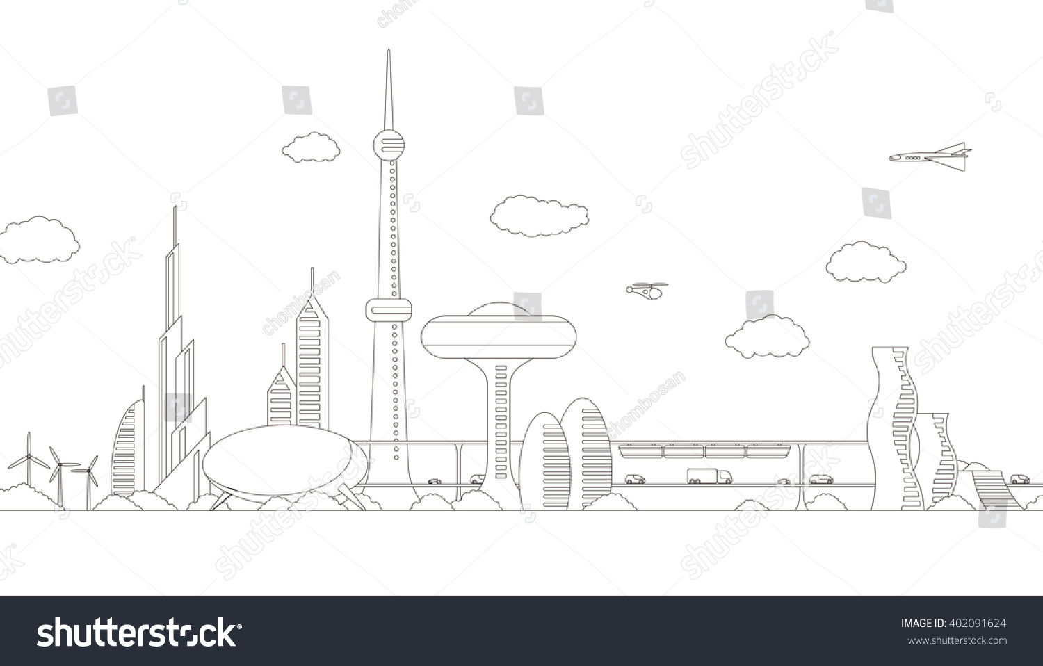 Modern Cityscape Panorama View Futuristic Buildings Stock Vector