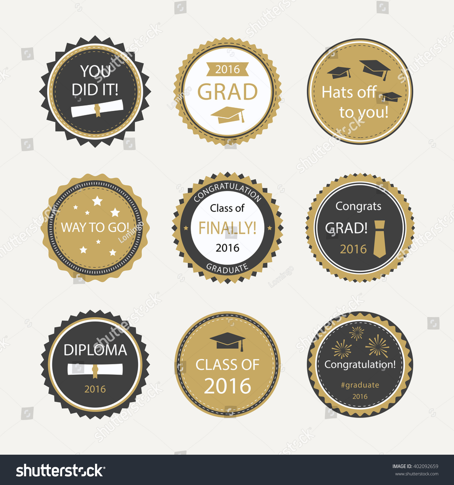 Set Of Graduation Cupcake Toppers. Vector Badges For ...