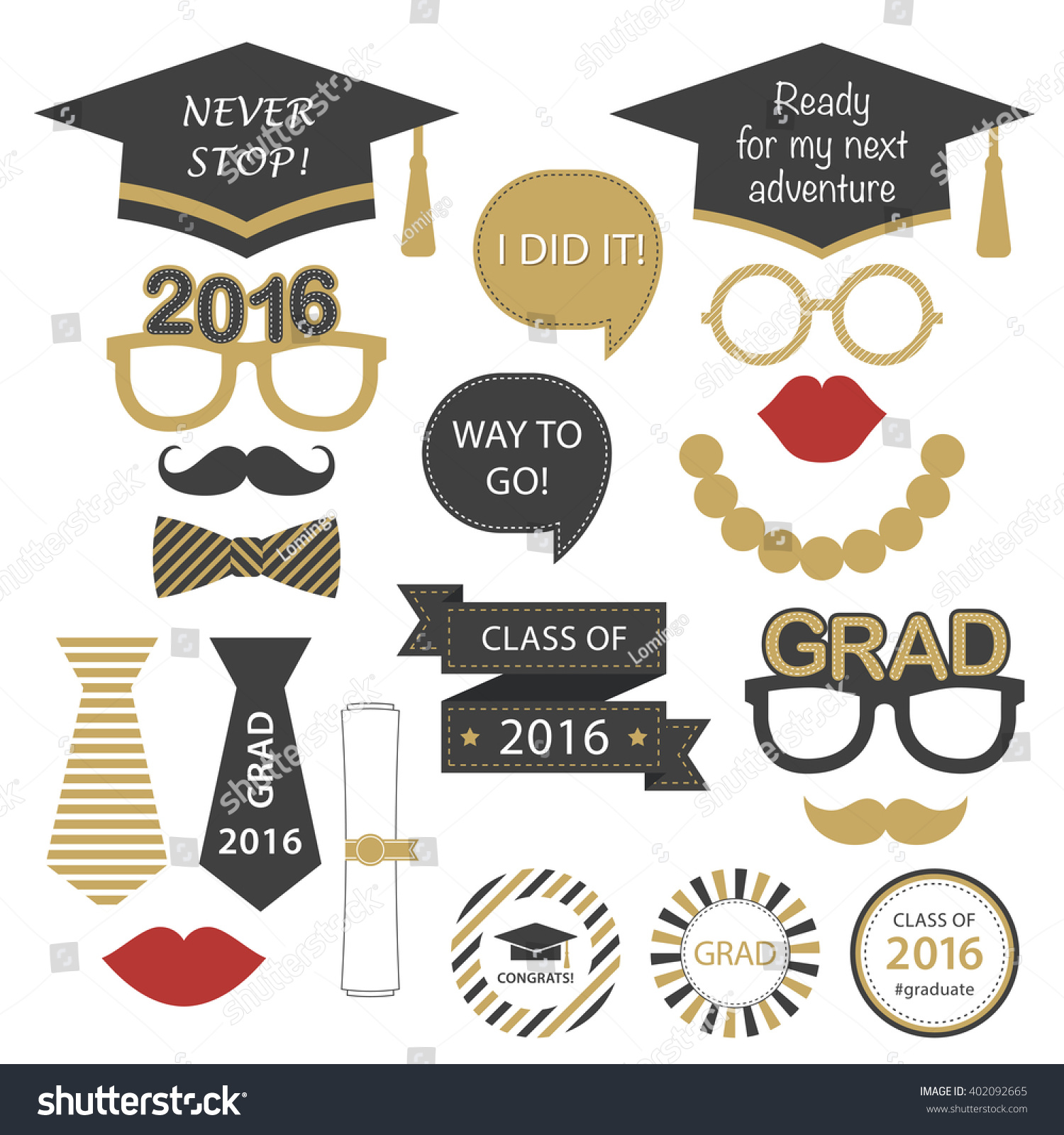 Stock Vector Set For Graduation Party Class Of Vector Decoration Elements Graduation Theme For High on High School Graduation Invitations Printable