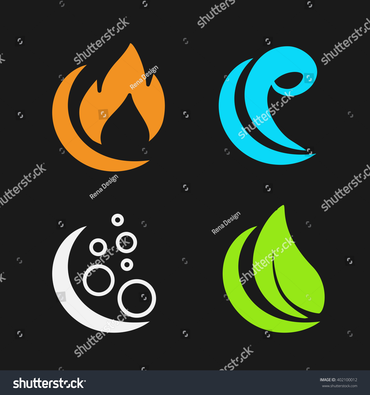 Vector four natural elements - fire, air, water, earth - nature symbols with