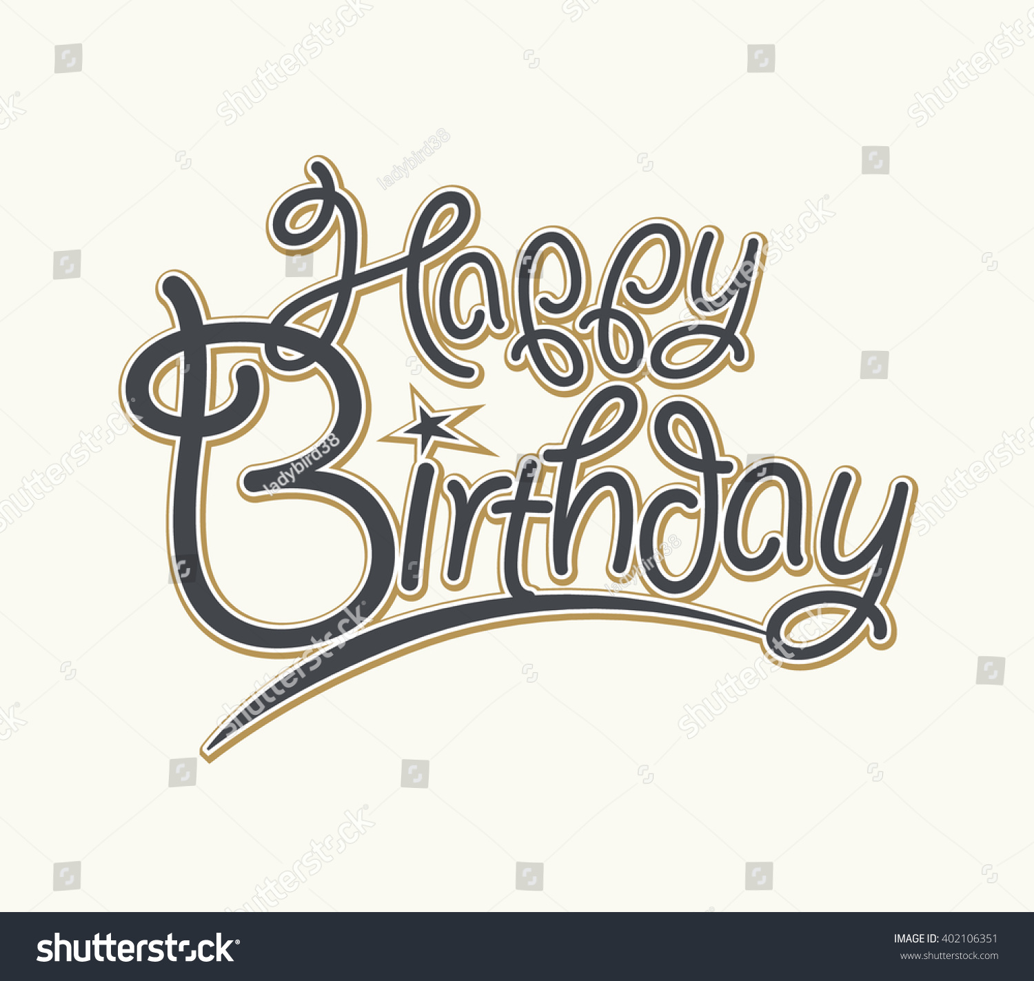 Happy birthday calligraphy brush painted letters vector