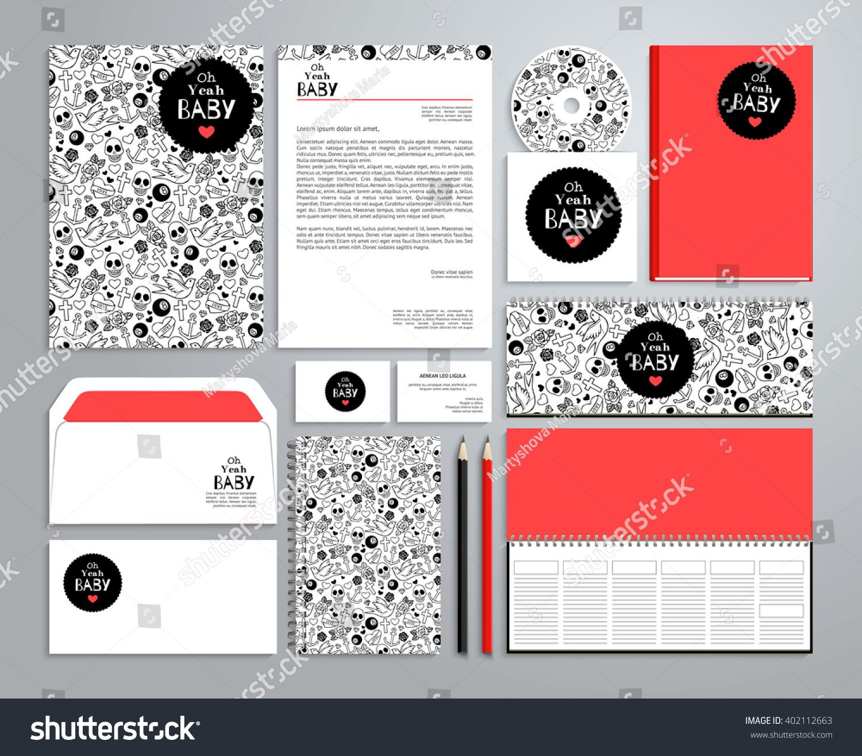 corporate identity templates rockabilly style notepad stock vector