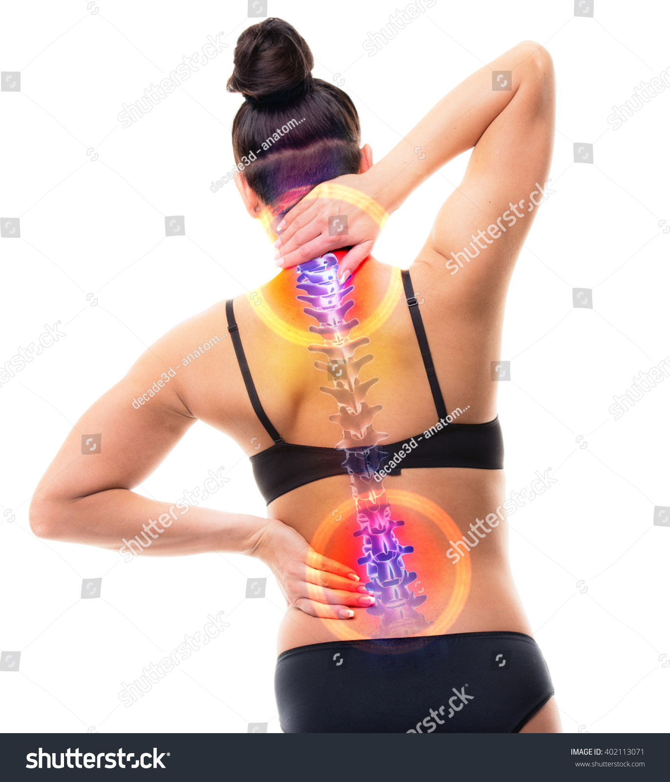 Spine Pain Female Hurt Backbone Real Stock Photo (Edit Now ...