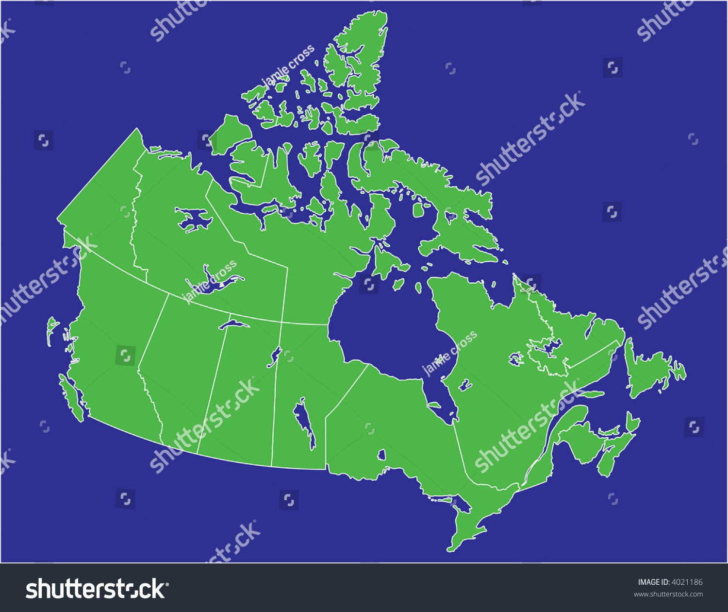 Land And Water Map Of Canada Basic Map Canada Water Blue Land Stock Vector (Royalty Free) 4021186