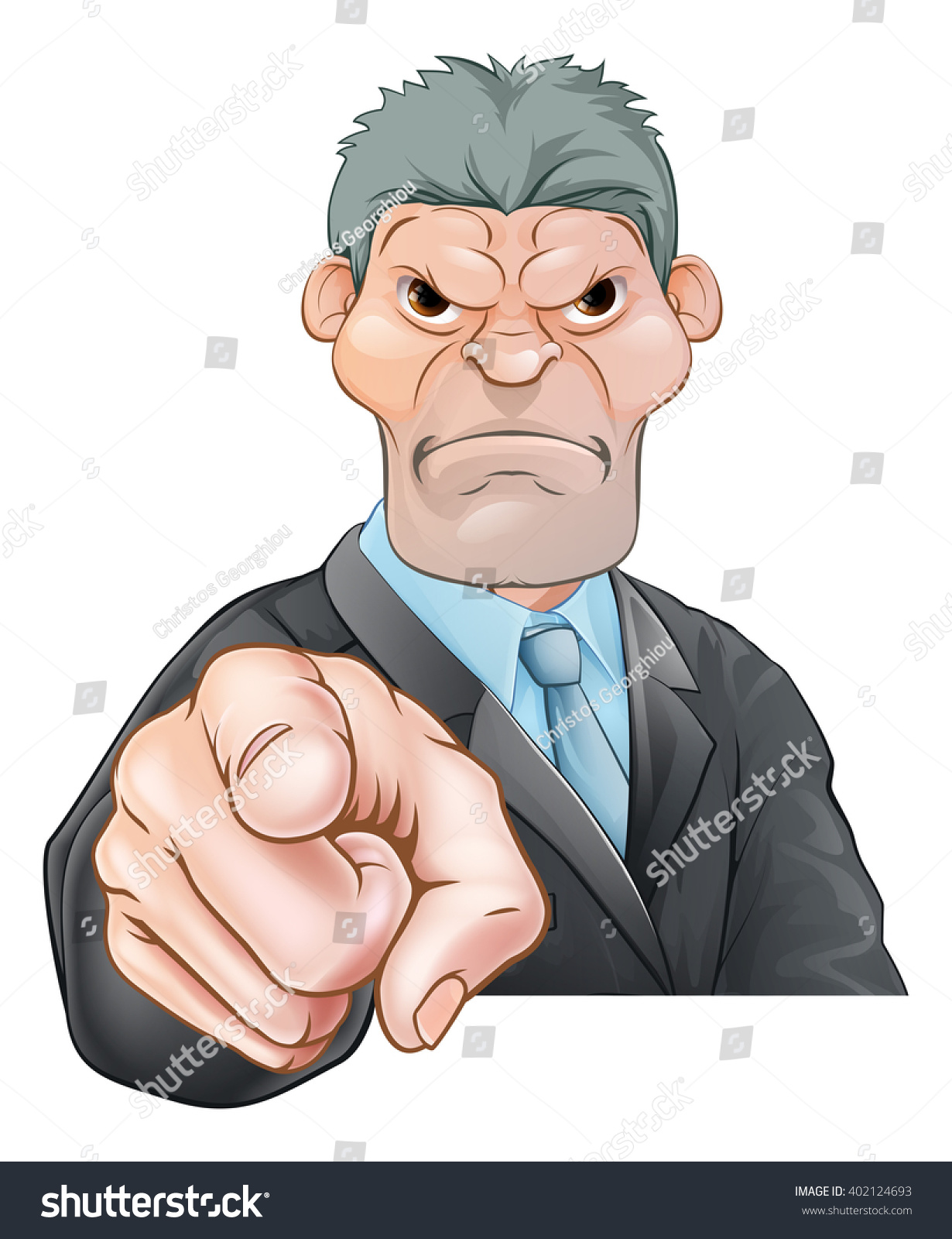 threatening mean looking cartoon businessman manager stock vector a threatening mean looking cartoon businessman manager boss or office bully pointing