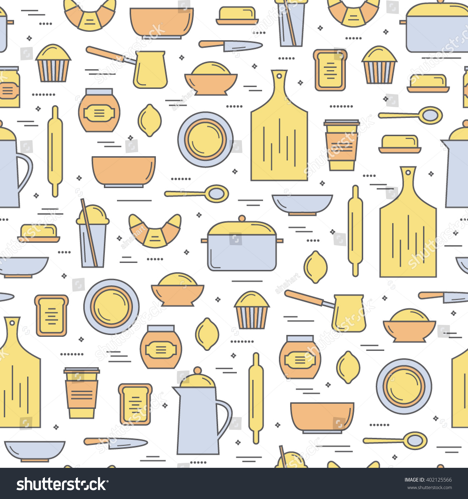 cute seamless pattern colorful kitchen utensils stock vector
