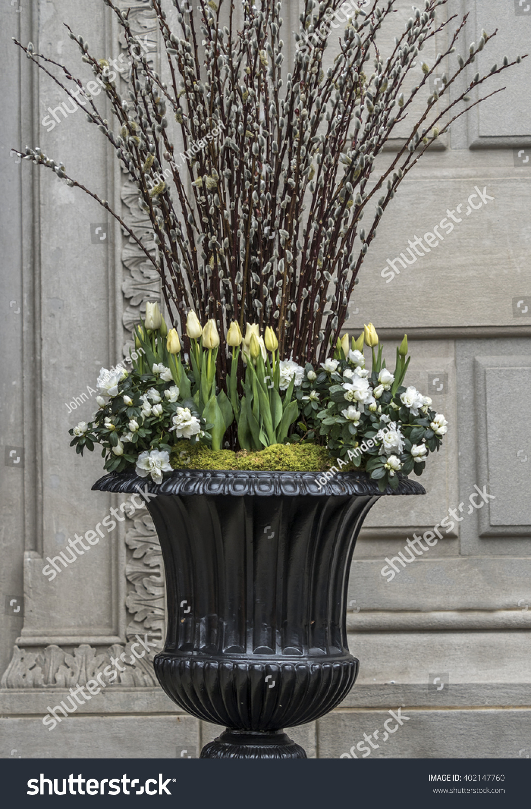 Large Vase Spring Flowers Front Building Stock Photo Edit Now