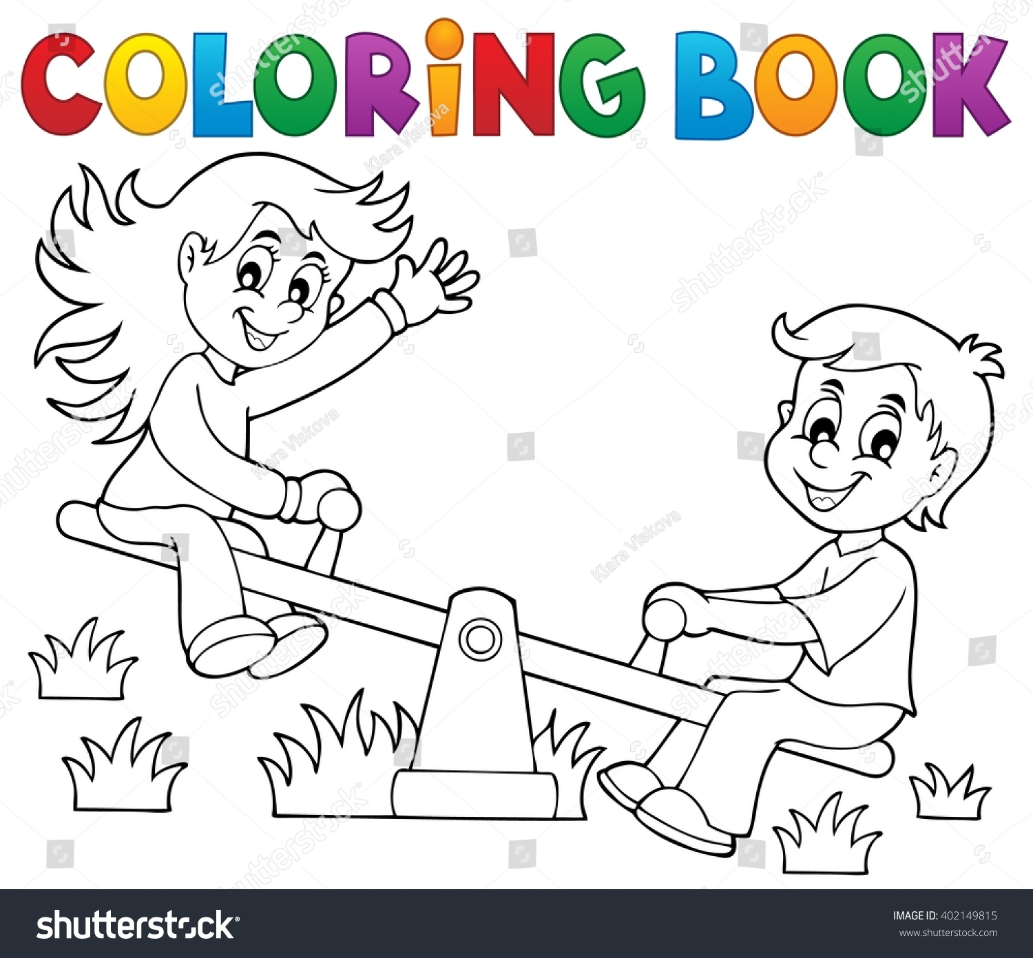 coloring book children on seesaw theme 1 eps10 vector illustration